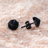 Black Octagon Stud Earrings-8*8mm