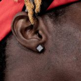 Square White Diamonds Paved Stud Earrings-7*7mm