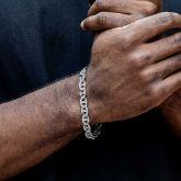 8mm Iced G-link Bracelet in White Gold