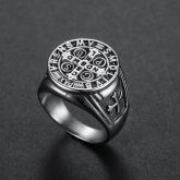 ST. Benedict Stainless Steel Cross Ring