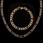 5mm Stainless Steel Figaro Bracelet in Gold