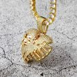 Broken Skeleton Heart Pendant in Gold