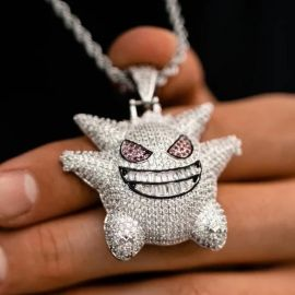 Iced Gengar Pendant in White Gold