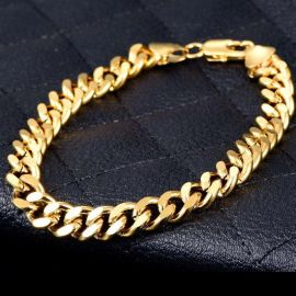 "8mm 8"" Stainless Steel Cuban Bracelet in Gold"