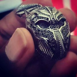 Black Panther Pendant in Black Gold