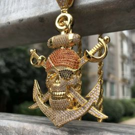 Iced Ghost Caribbean Pendant in Gold