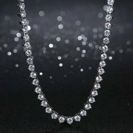 4mm 3 Prong Tennis Necklace