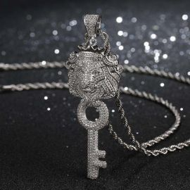 Iced DJ Khaled Lion Key in White Gold