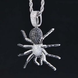 White and Black Iced Spider Pendant