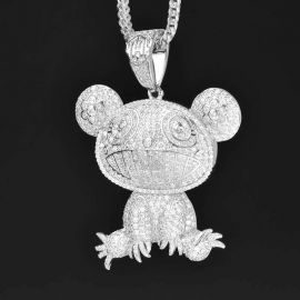 Iced Adorable Panda Pendant in White Gold