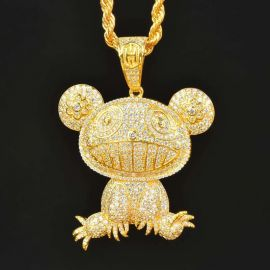 Iced Adorable Panda Pendant in Gold