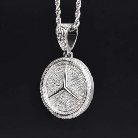 Iced Three-Pointed Star Pendant in White Gold