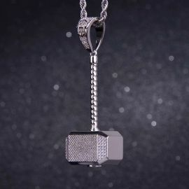 Iced Thor's hammer Pendant in White Gold