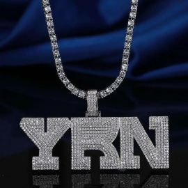 Iced YRN Pendant in White Gold