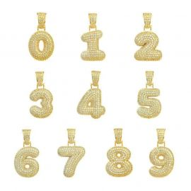 Iced Numbers Pendant in Gold