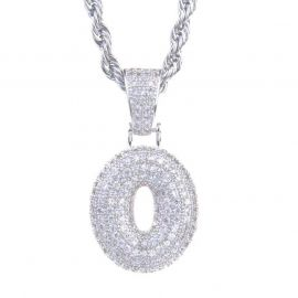 Iced Numbers Pendant in White Gold