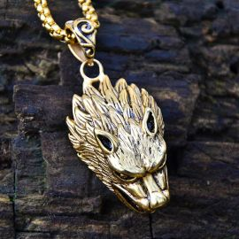 Wolf Pendant in Gold