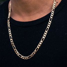 5mm Stainless Steel Figaro Chain in Gold