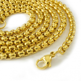 4mm 18K Gold Finish Round Box Chain