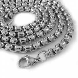 4mm Round Box Chain in 18K White Gold