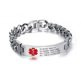 Personalized Engraved Medical Emergency Cuban ID Bracelet