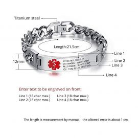 Engraving Medical Emergency Bracelet Titanium Steel Alert ID Bracelet for Adults