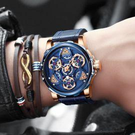 Men's Alloy Waterproof Mechanical 44mm Leather Strap Watch