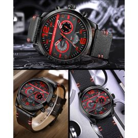Men's Fashion Mechanical Style 41mm Multifunction Leather Strap Watch