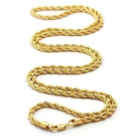 4mm 18K Gold Finish S925 Silver Rope Chain