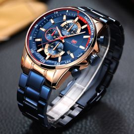 Men's Chronograph Calendar Luminous Waterproof with Metal Strap Watch