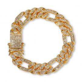 """13mm 8"""" Iced Figaro Cuban Bracelet"""