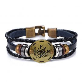 Men's 12 Constellations Vintage Cowhide Braid Bracelet
