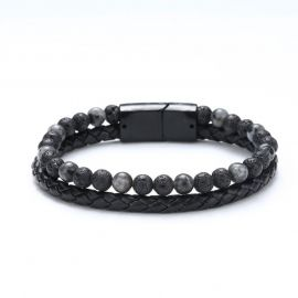 Men's Braid Leather Natural Stone Bead Bracelet