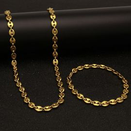 7mm Stainless Steel Coffee Bean Chain Set in Gold