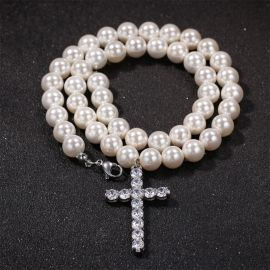 8mm Men Pearl Necklace Cross Pendant