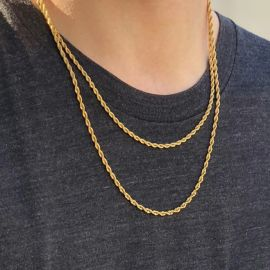 3mm 18K Gold Finish 2 Rope Chain Set