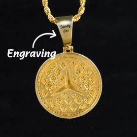 Iced Three-Pointed Star Pendant in Gold