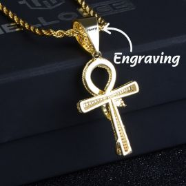 Gold Iced Ankh Ouroboros Cross Free Engraving