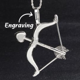 Iced Cupid Arrow and Bow Pendant in White Gold