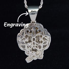 Iced Jigsaw Pendant in White Gold