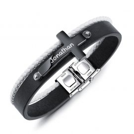 Mne's Leather WristBand Bracelet with Engraved Steel Cross