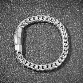 """8mm 8"""" 18K White Gold Finish Franco Bracelet"""
