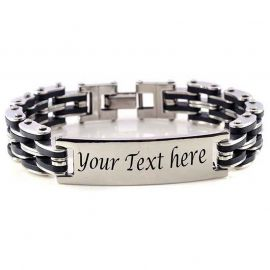 Men's Personalized Engraved Bike Chain ID Bracelet