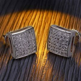 Iced Square Shape Stud Earring