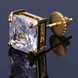 Radiant Cut Stud Earring in Gold