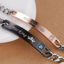 Couple King&Quee Stainless Steel Bracelet Set