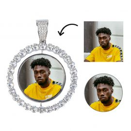 Iced 3D Photo Pendant in White Gold