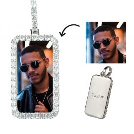 Custom Rectangle Photo Pendant in White Gold