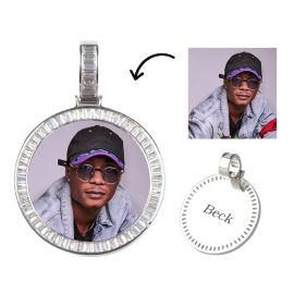 Custom Baguette Stones Round Shape Photo Pendant
