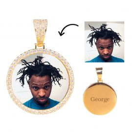 Iced Photo Pendant in Gold